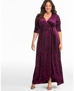 Kiyonna Womens Plus Size Cara Velvet Wrap Dress