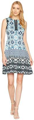 Maggy London Sundial Ikat Printed Scuba Fit Flare Dress Women's Dress
