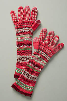 Anthropologie Alpine Fair Isle Wool Gloves