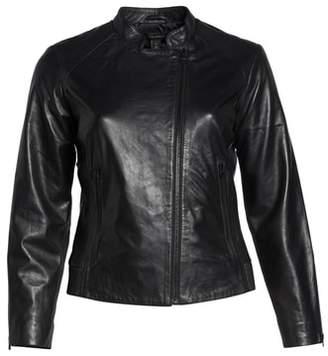 Halogen Zip Racer Leather Jacket
