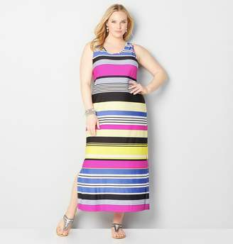 Avenue Jewel Tone Stripe Maxi Dress