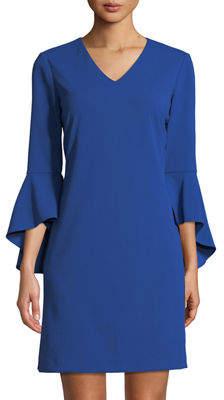 Tahari ASL V-Neck Crepe Tulip-Sleeve Dress