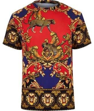 River Island Jaded black baroque print T-shirt