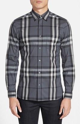 Men's Burberry Brit 'Nelson' Trim Fit Check Sport Shirt $325 thestylecure.com