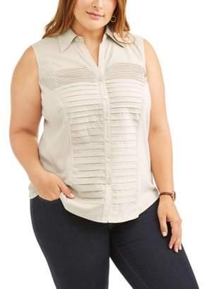 Lifestyle Attitude Women's Plus Sleeveless Knit to Fit Blouse