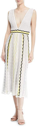 M Missoni Ribbon Wave Plunge-Neck Dress