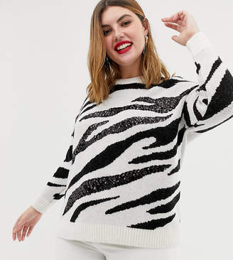 New Look Plus Curve sequin jumper in zebra