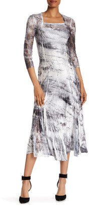 KOMAROV Lace Sleeve Midi Dress $278 thestylecure.com