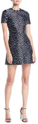 Jason Wu Short-Sleeve Mini Floral-Print Satin A-Line Mini Dress