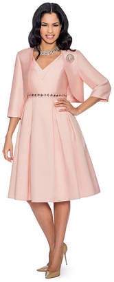 GIOVANNA COLLECTION Giovanna Collection Women's Silk Wool A-line 2-piece Bolero Jacket + Dress