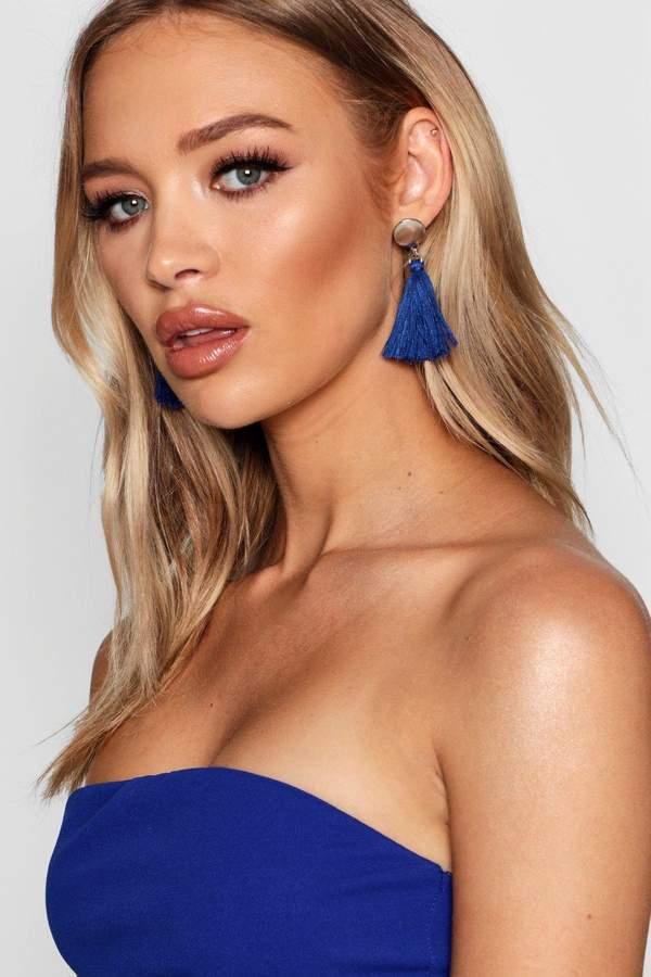 boohoo Metal Stud Tassel Earrings