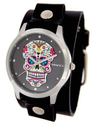 Nemesis #GB925K Women's Rock Collection Sugar Skull Black Wide Leather Cuff Band Watch