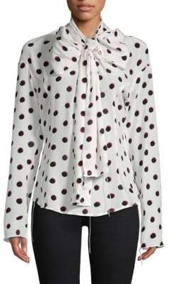 Marc Jacobs Polka Dot Self-Tie Silk Top