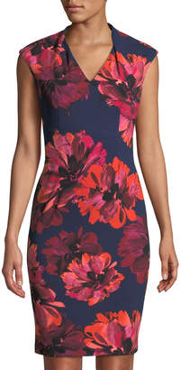 London Times Floral-Print Cap-Sleeve V-Neck Dress