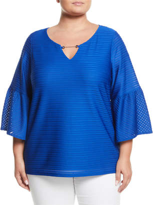 Iconic American Designer Striped-Chiffon Flare-Sleeve Blouse, Plus Size