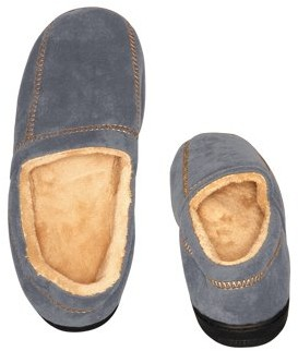 Deluxe Comfort Modern Moccasin Memory Foam Men's Slipper, Size 9-10 Stylish Microsuede Long-Lasting Memory Foam Warm Fleece Lining Men's Slippers, Grey