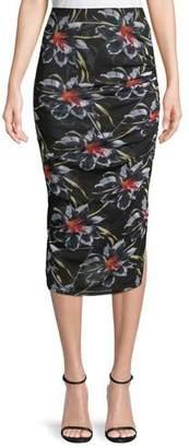 Diane von Furstenberg Cinched Mesh Floral-Print Midi Skirt
