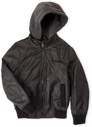 Urban Republic Boys 8-20) Black Hooded Faux Leather Jacket