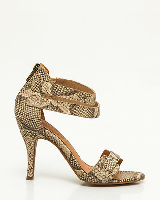 Le Château Snake Print Leather Ankle Strap Sandal