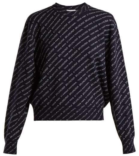 Crew-neck wool-blend sweater