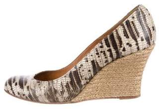 Lanvin Embossed Wedge Pumps