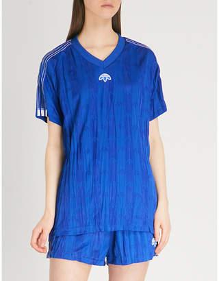 Alexander Wang Adidas X Logo-embroidered crinkled satin T-shirt