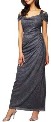 Alex Evenings Cold Shoulder Chiffon Gown