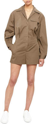 Theory Button-Front Long-Sleeve Short Jumpsuit