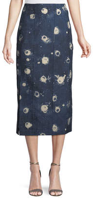 ADAM by Adam Lippes High-Waist Vintage-Inspired Chambray Pencil Skirt w/ Slit