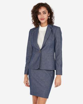 Express Petite Notch Collar One Button Jacket