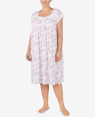 Eileen West Plus Size Cotton Printed Waltz Nightgown