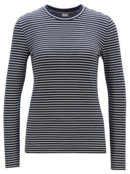 715581723 BOSS Slim-fit long-sleeved T-shirt in striped stretch cotton