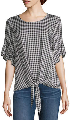 Co LIZ AND Liz And Short Sleeve Crew Neck Woven Blouse