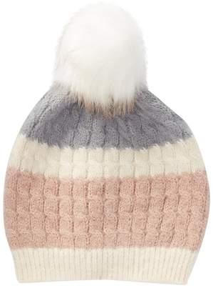 David & Young Soft Knit Beanie with Faux Fur Pompom