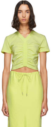 Alexander Wang Yellow Cropped Ruched T-Shirt