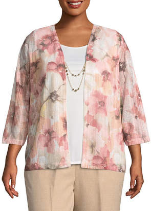 Alfred Dunner La Dolce Vita Floral Layered Sweater- Plus