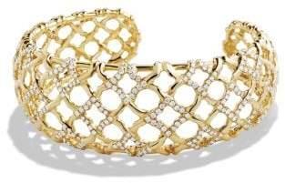 David Yurman Venetian Quatrefoil Narrow Cuff Bracelet With Diamonds