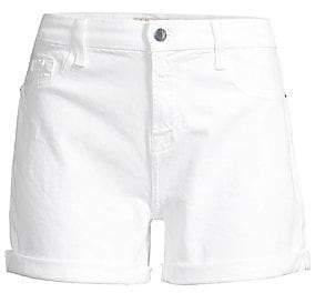7 For All Mankind Jen7 by Women's Mid-Rise Roll Denim Shorts