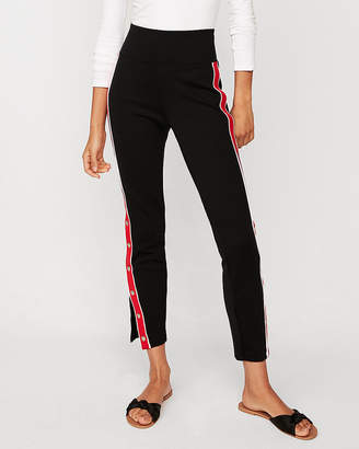 Express High Waisted Side Stripe Snap Leggings