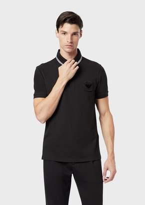 Emporio Armani Stretch Pique Cotton Polo Shirt With Logo Patch