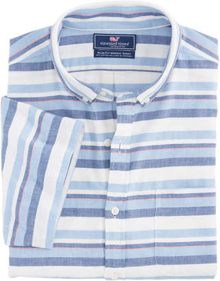 Vineyard Vines Short-Sleeve Down Harbor Beach Flannel Slim Murray Shirt
