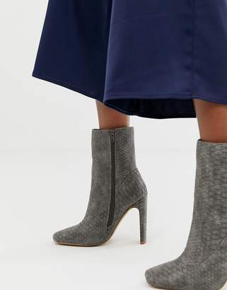 Missguided square toe high heeled ankle boot in gray snake
