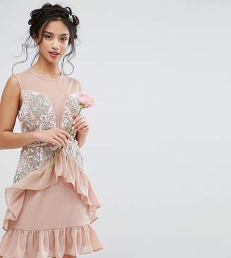 Maya Petite Mesh Insert Embellished Mini Dress With Peplum Hem Detail