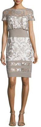 Tadashi Shoji Short-Sleeve Sequined Lace Dress, Sand/Ivory $350 thestylecure.com