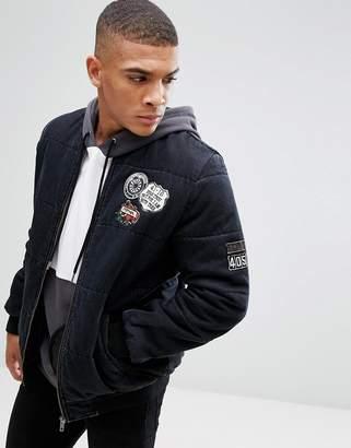 Asos Design Denim Bomber Jacket With Badges In Washed Black
