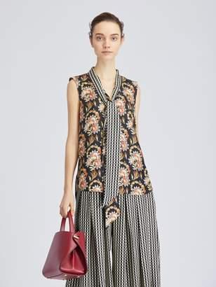Oscar de la Renta Tapestry Floral King Silk-Twill Blouse