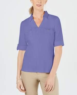 Karen Scott Cotton Cuffed Elbow-Sleeve Top, Created for Macy's