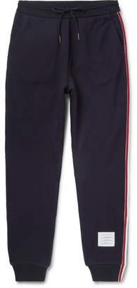 Thom Browne Slim-Fit Grosgrain-Trimmed Loopback Cotton-Jersey Sweatpants