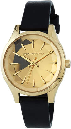 Karl Lagerfeld 36mm Janelle Faceted Watch w/ Leather Strap, Gold/Black