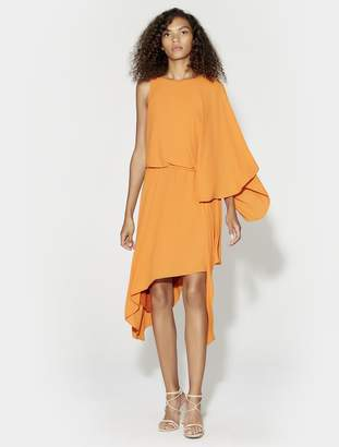 Halston FLOWY SLEEVE BOAT NECK ASYMMETRIC DRESS WITH DRAPE BACK DETAIL